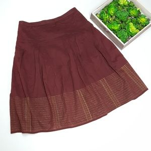 Ann Taylor LOFT Maroon Skirt with Gold accents H2